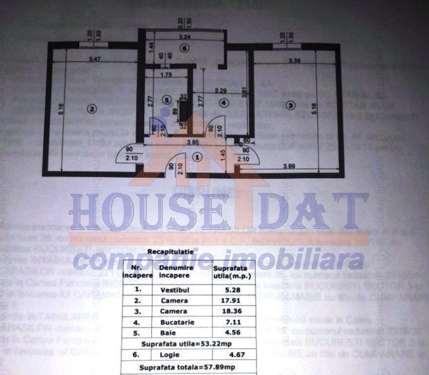 Vanzare apartament 2 camere, Calea Calarasilor, Piata Muncii, anul 1992, etajul 8.
